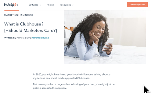 Example of how the HubSpot Blog responded to the Clubhouse trend
