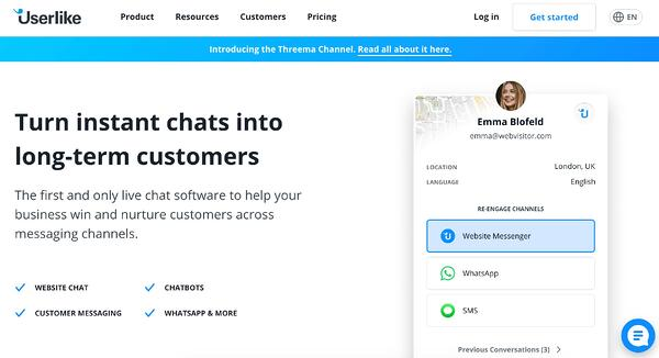 userlike live chat software and service