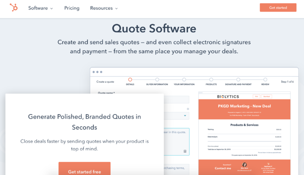 hubspot quotes software sales quotes tool