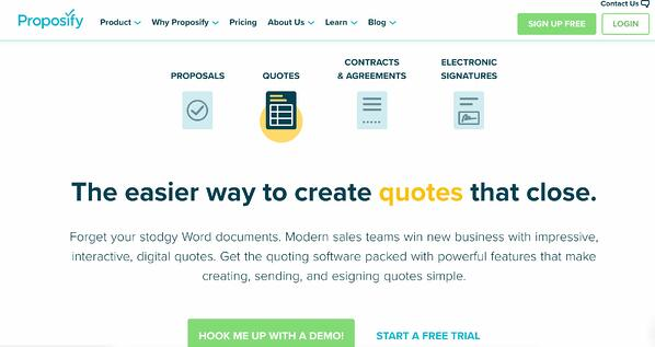 proposify sales quotes software