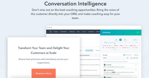 HubSpot conversation intelligence example of call recording software