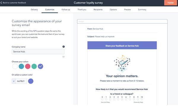 hubspot customer feedback tool to help you send customer loyalty and NPS surveys