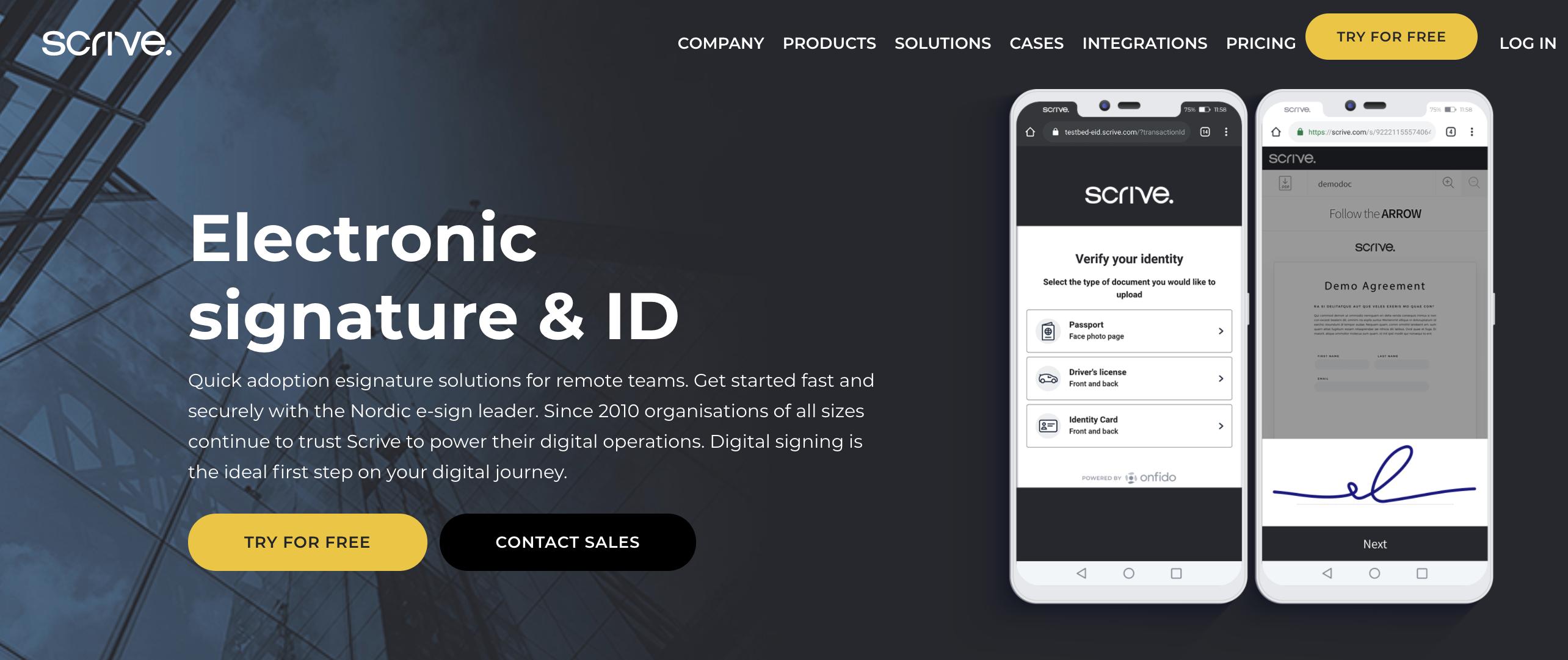 scrive electronic signature app