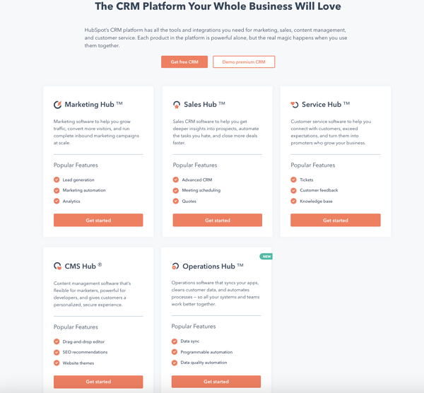 hubspot all in one crm platform for sales management