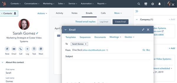 hubspot sales hub example of sales management software