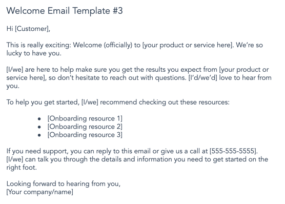 customer welcome email