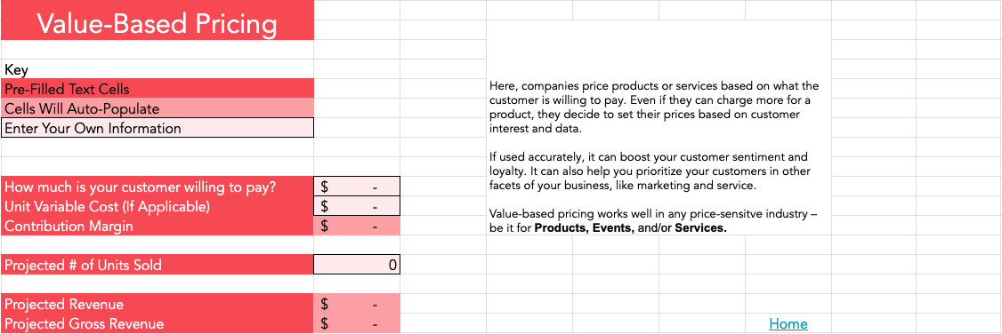 value based pricing calculator
