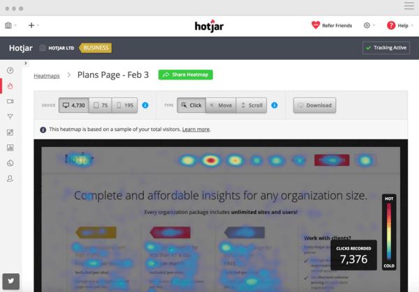 hotjar website activity tracking tool