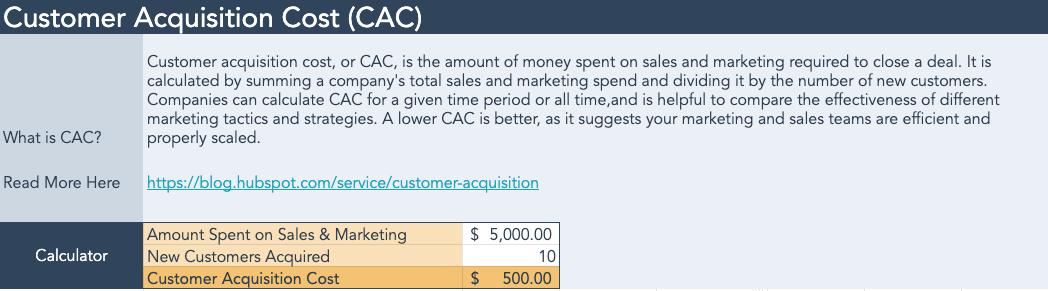 customer acquisition cost calculator