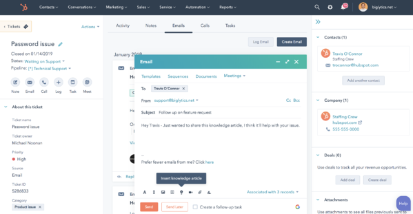 HubSpot's Help Desk and Ticketing Automation Software