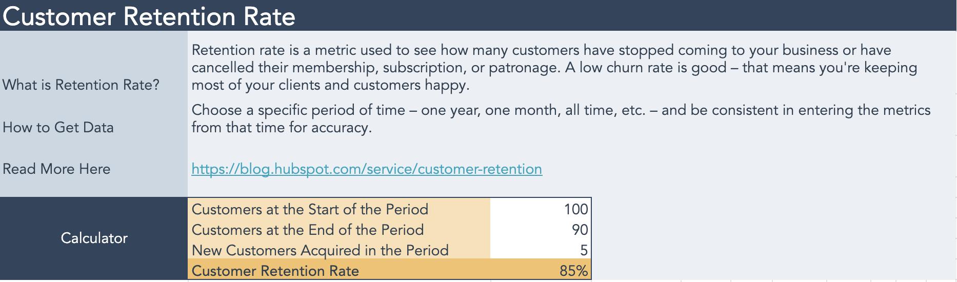 customer retention rate calculator