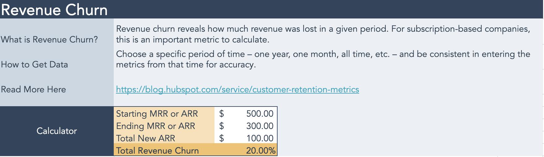 revenue churn calculator