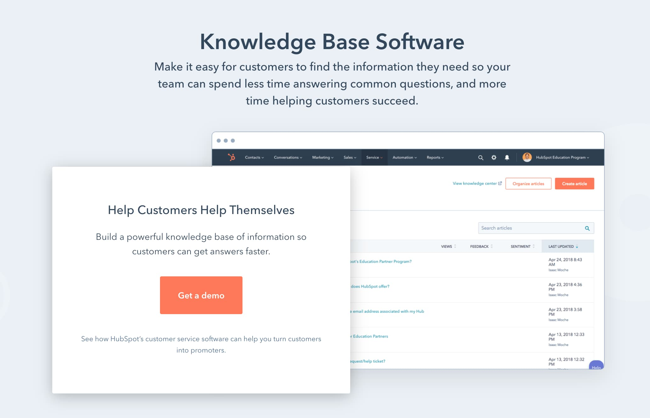 HubSpot knowledge base tool software signup page