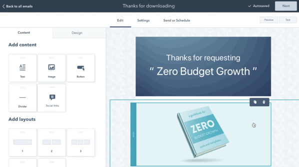 HubSpot Email Marketing Tools email template builder