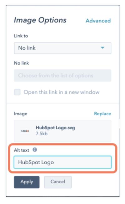 hubspot cms hub adding image alt text