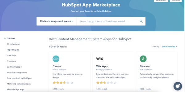 install extensions, apps, and integrations to your cms in hubspot's app marketplace