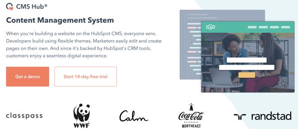 Example of CMS Software, HubSpot CMS