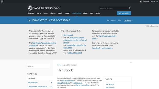 Accessibility Handbook homepage in WordPress codex
