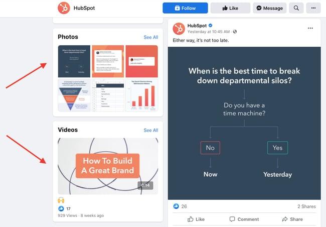 Facebook sales funnel: HubSpot facebook page