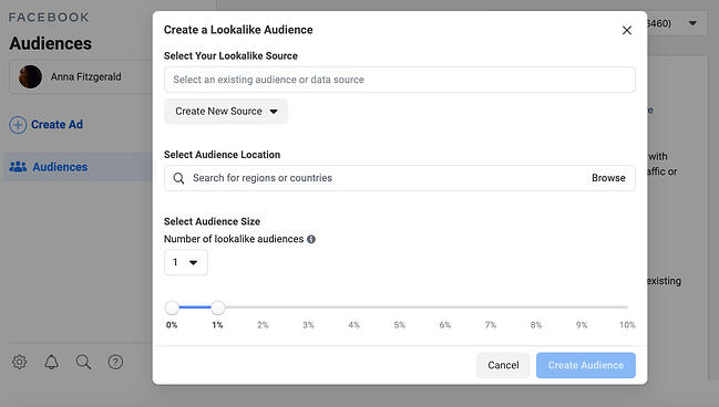 facebook sales funnel: create lookalike audience
