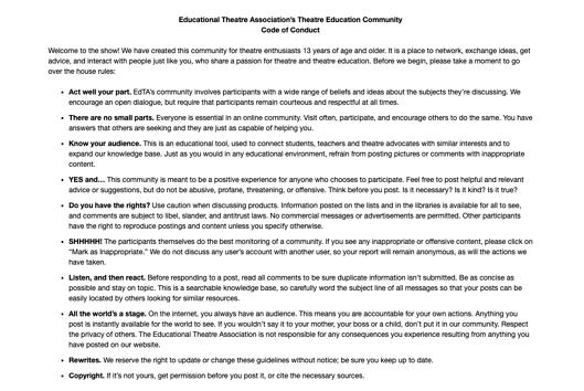 Educational Theatre Association community forum rules of conduct