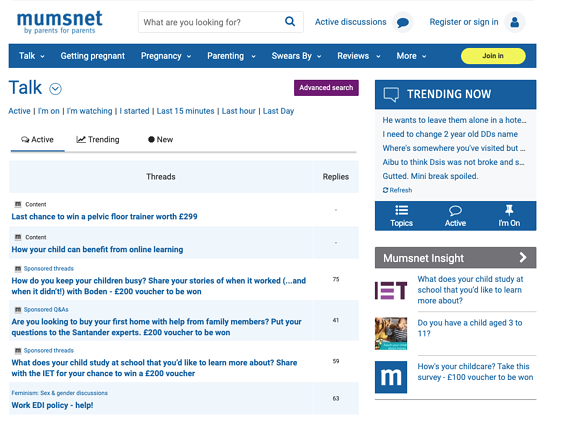 Mumsnet community forum and discussion site
