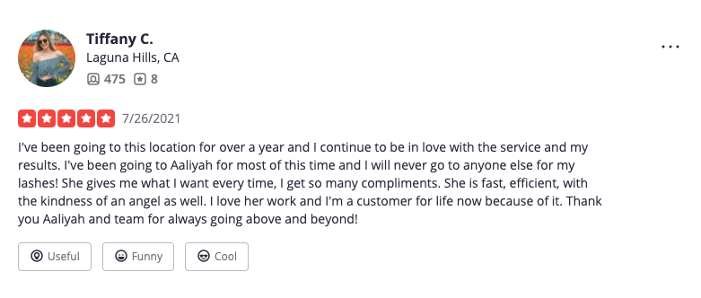 Positive customer review example: Lash studio