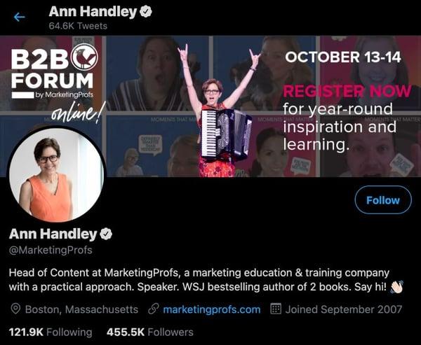ann handley of marketing profs, content marketer to follow on linkedin