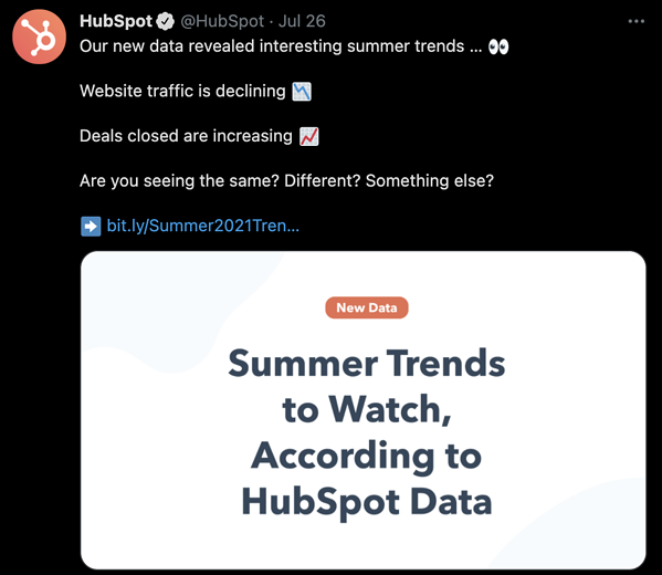 hubspot using twitter for content marketing, examples of content marketing
