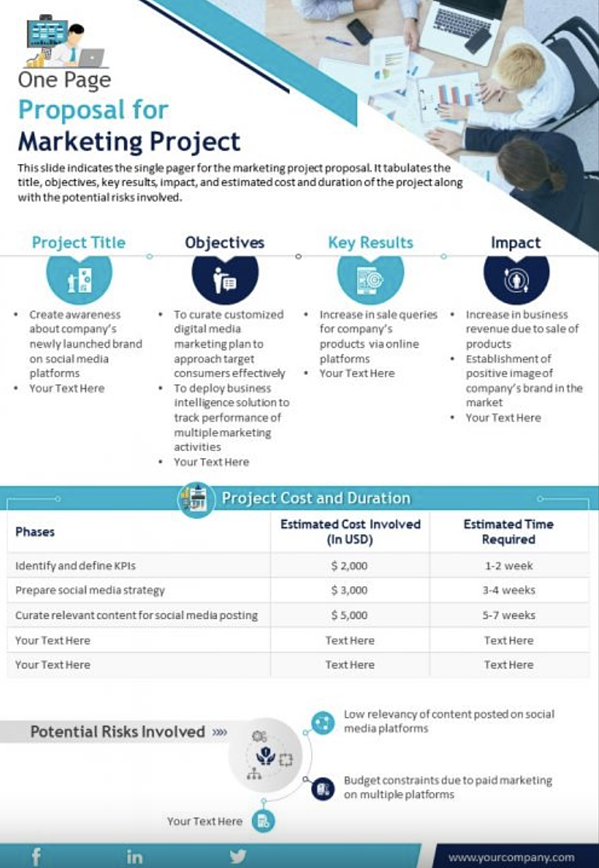 SlideTeam Marketing Proposal (One-Page Infographic): example of a marketing proposal template