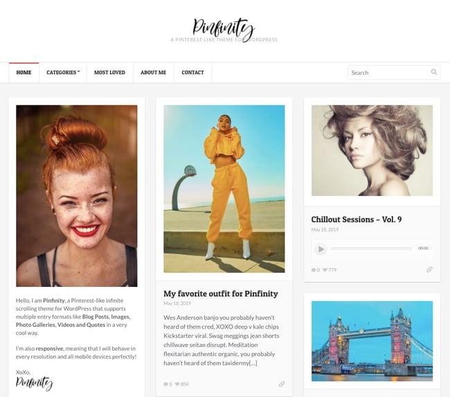 best pinterest-style wordpress theme: Pinfinity