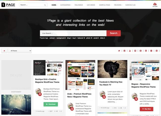 best pinterest-style wordpress theme: 1page