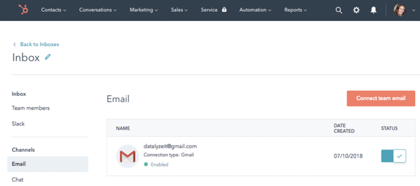 hubspot conversations for managing all emails and communications in one inbox