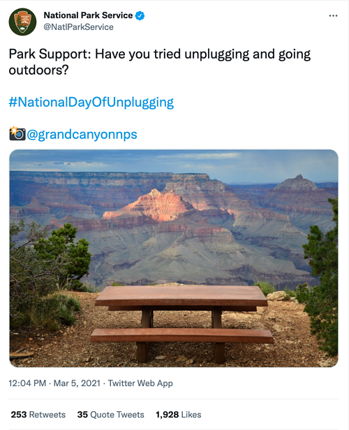 national park service national day of unplugging social media holiday tweet