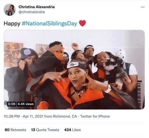 christina alexandria national siblings day social media holiday tweet