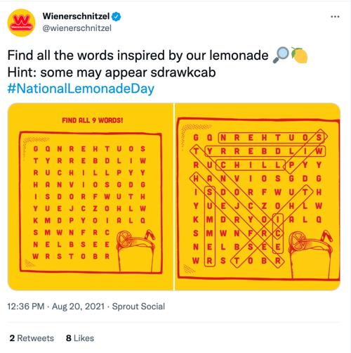 Wienerschnitzel National Lemonade Day Social Media Holiday Tweet