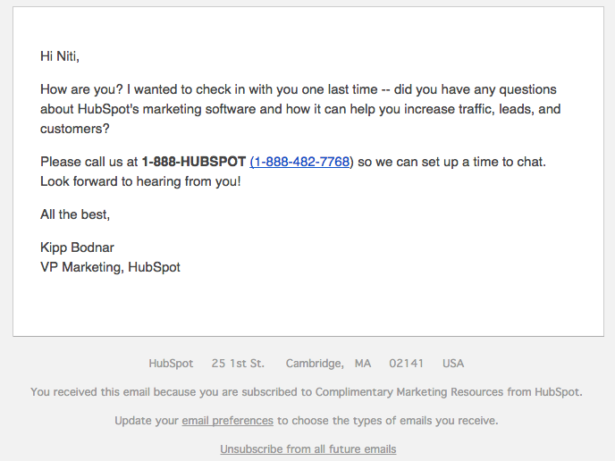Nurturing email