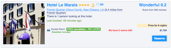 booking.com social proof example