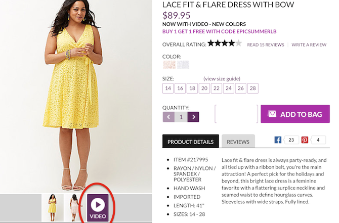 lane bryant ecommerce video content still image