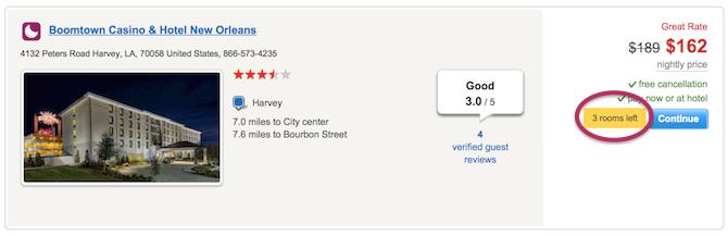 hotels.com fomo example