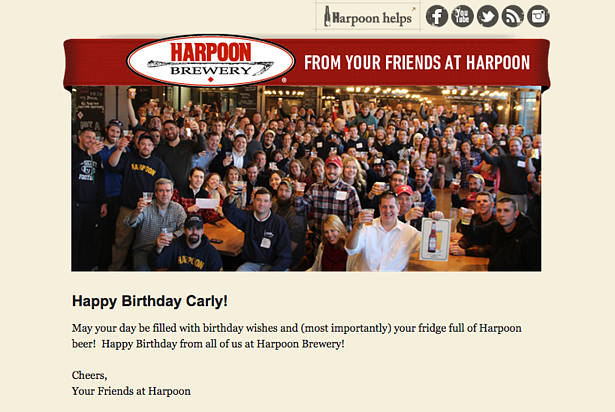 "harpoon brewery email with a photo of the staff that reads ""happy birthday carly from your friends at harpoon"""