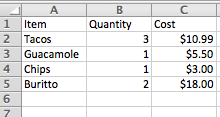 Excel spreadsheet with no border outline