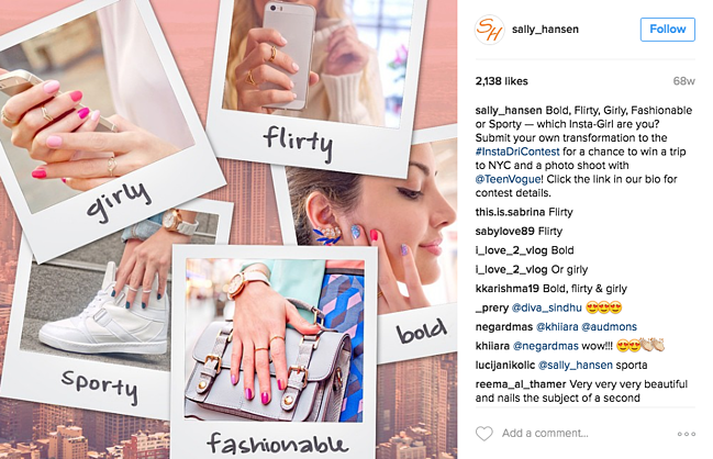 sally hansen instagram contest promoted on their instagram
