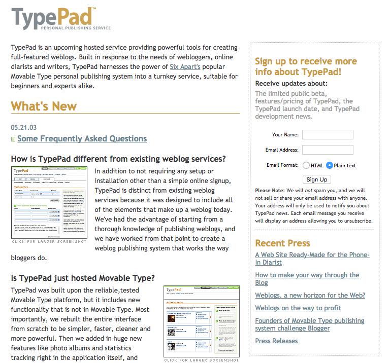 TypePad circa 2003