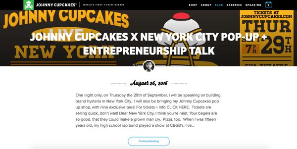 beautiful blog design johnny cupcakes