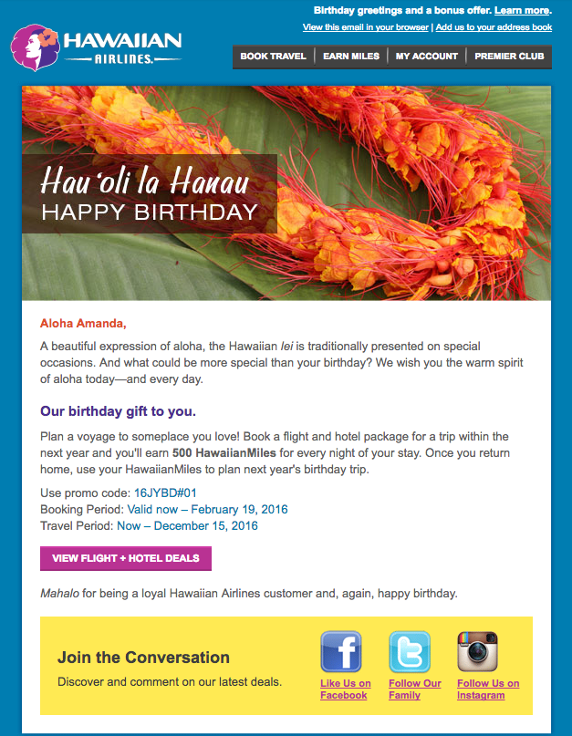 Hawaiian Airlines  13 Email Examples That Totally Nailed Personalization Screen Shot 2016 10 18 at 9