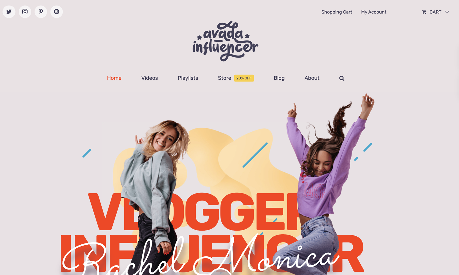 Avada Influencer theme demo with advertising space