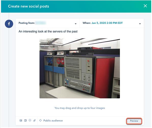 Vorschau Ihrer sozialen Beiträge vor der Veröffentlichung als HubSpot Produktaktualisierung im August 2020.