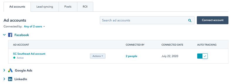 Mehrfach-Authentifizierung für Anzeigenkonto-Verbindungen bei den HubSpot Produktaktualisierungen im AUgust 2020