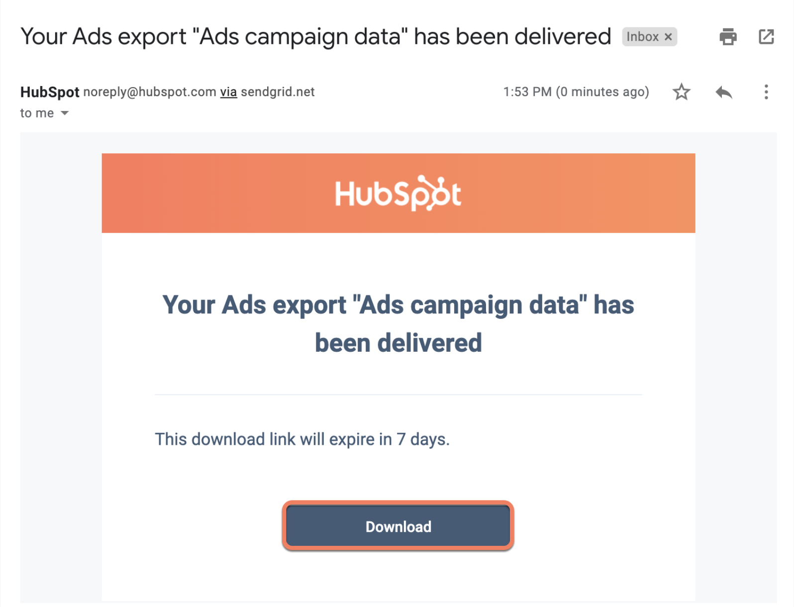 Ads export data confirmation email